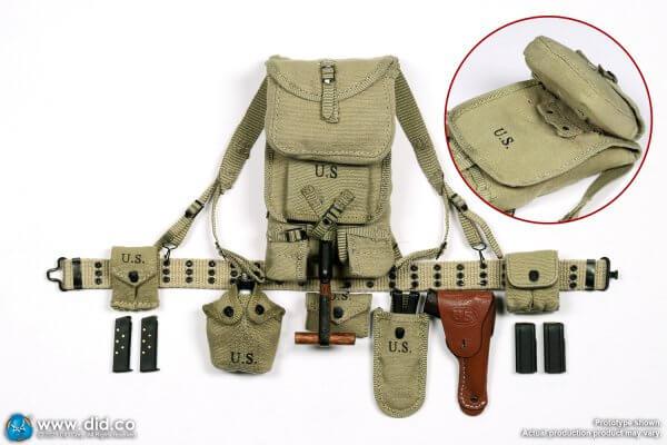WWII US 2nd Ranger Battalion Sergeant Horvath M1928 Haversack M1911 ammo pouch M1 mag pouch U.S. M1936 Pistol Belt